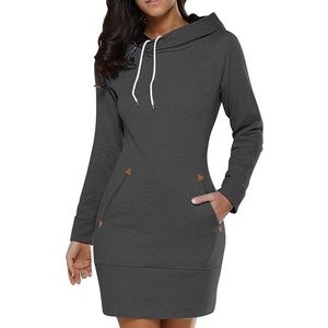 BiuBiu Slim Fit Midi Hoodie Pocket Dress